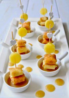 Pourquoi je grossis ... : Bouchées de crêpes à l'ananas tiède vanillé, caramel de cidre.