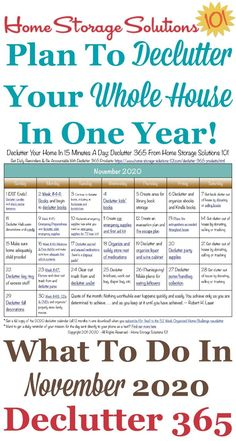 Free printable November 2020 #decluttering calendar with daily 15 minute missions. Follow the entire #Declutter365 plan provided by Home Storage Solutions 101 to #declutter your whole house in a year.