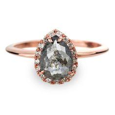 1.32 Carat Black Diamond Halo Engagement Ring, 14K Rose Gold