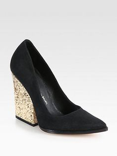 Alice + OliviaMeyer Suede Glitter Heel Pumps