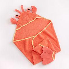 "Baby Aspen BA14013NA ""Lobster Laughs"" Lobster Hooded Towel (0-9 Months)"