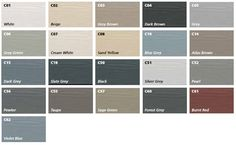 Cedral Lap weatherboard can be supplied in a range of 21 factory applied solid colours providing an aesthetic option to suit many project requirements. White Beige, Brown And Grey, Dark Grey, Blue Grey, House Painting, Painting On Wood, Cedral Weatherboard, Pvc Gutters, Oak Framed Buildings