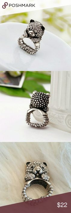 Crystal Bear Ring Brand new! Ring is stretchable. Antiqued silver with a crystal front.  Offers welcome! Jewelry Rings