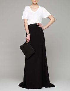 White t-shirt, black maxi skirt, black maxi clutch