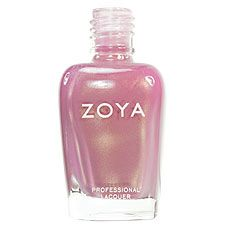Zoya Nail Polish in Meadow - medium pinkish peach with mauve undertones and warm frosty golden shimmer
