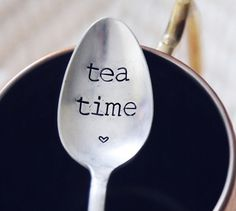 Tea Time Vintage Hand Stamped Spoon for your TEA Lover This Valentine's Day