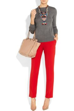 Milly top, Joseph pants, Gianvito Rossi shoes, Valentino bag, and Erickson Beamon necklace.