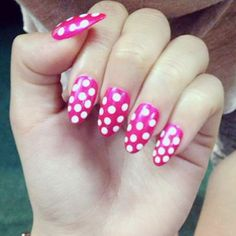 becky-g-nails-pink-polka-dot