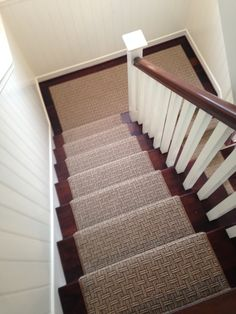 Wool stair runner installed for a client in Newport Beach, CA.  This was wall to wall carpet that our showroom fabricated into a stair runner.  Purchase at Hemphill's Rugs & Carpets Orange County, CA www.RugsAndCarpets.com