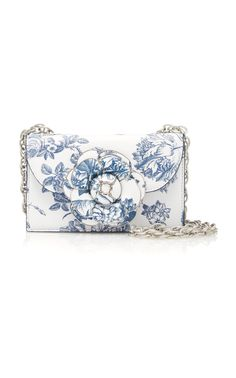 Oscar De La Renta Floral-Print Textured-Leather Shoulder Bag $2,690