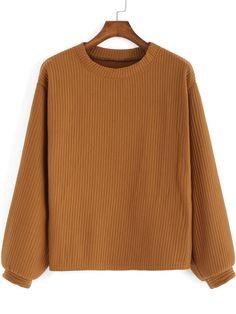 Khaki Round Neck Casual Crop Sweatshirt , High Quality Guarantee with Low Price!