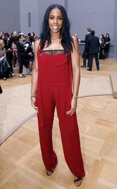Kelly Rowland from The Big Picture: Today's Hot Pics  Rowland does red! The songstress sports a jumpsuit while attending the Chloé show at Paris Fashion Week.