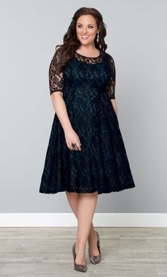 Got a special night out or Holiday party coming up? This lovely black lace cocktail dress with blue sheath from Kiyonna is just right!