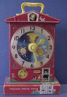 Fisher Price Tick Tock clock ... this was one of my favorite toys when I was a child because I loved the melody ... I can still hear it in my head, along with the tick-tock, complete with the slowing-down-as-it winds-down effect