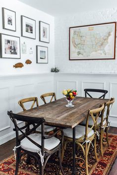 Touring The Picture-Perfect Home Of Lauren Wells Glitter Guide Rustic Dining Chairs, Dining Room Table, A Table, Rustic Table, Bistro Chairs, Kitchen Tables, Room Kitchen, Rustic Country Furniture, Up House