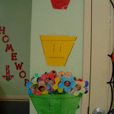 Behavior chart...flowers they decorated with a picture of each student's face in the middle.