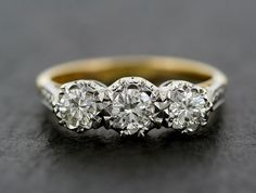 Vintage Diamond Engagement Ring - Three Stone 18ct Gold & Platinum Diamond Trilogy Engagement Ring