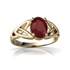 Ruby Celtic Trinity Knot 14K Yellow Gold ring R2389 - front view