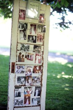 Cute way to display photos of family, friends, and the couple around the reception area!
