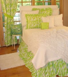 Tween/Teen Bedding | Lime Green Zebra Bedding Collection
