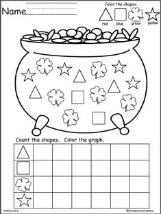 Free St. Patrick's Day math graph. Color, count, and graph the shapes.