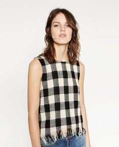 Image 1 of FRAYED CHECK TOP from Zara