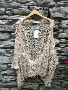 Ethereal hand knit gold & cream shrug / by NatashaWilkieDesign