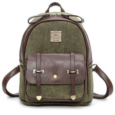 Cheap Retro Girl's Corduroy Splicing PU Color Blocking School Backpack Student Backpack For Big Sale! Lace Backpack, Retro Backpack, Striped Backpack, Leather Backpack, Leather Bags, Backpacks For Teens School, Backpack For Teens, School Bags, College Backpacks