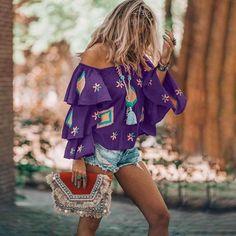 2019 Fall Summer Sexy Slash Neck Shirt Print Flare Sleeve Ruffles Plus Size Blouse Vintage Printed Ethnic Shirt Long Sleeve Sweater, Long Sleeve Shirts, Spring Blouses, Ethnic Print, Cardigan Fashion, Blouse Vintage, Plus Size Blouses, Shirt Blouses, Clothes For Women
