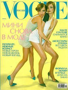 RUSSIAN VOGUE - APRIL 2003 COVER MODEL (L-R) TATJANA HYLES & NATALIA VODIANOVA