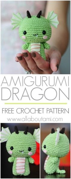 Crochet your own adorable baby dragon with little wings, horns, and scaled belly! Free amigurumi pattern & step-by-step tutorial available! patterns free amigurumi dragon Pattern: Dragon - All About Ami Crochet Kawaii, Crochet Diy, Crochet Crafts, Crochet Dolls, Yarn Crafts, Dragon En Crochet, Crochet Dragon Pattern, Crochet Amigurumi Free Patterns, Crochet Animal Patterns