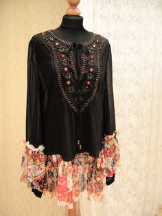 Upcycled Boho, hippie black tunic, Folk, bohemian tunic, boho, gypsy tunic