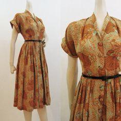 40s Dress Vintage Novelty Print Rayon Dress Fans Jewelry M. $120.00, via Etsy.