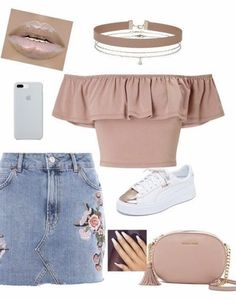 A fashion look from July 2017 featuring Miss Selfridge tops, Topshop mini skirts and Puma sneakers. Browse and shop related looks. Cute Teen Outfits, Teenage Girl Outfits, Girls Fashion Clothes, Teen Fashion Outfits, Teenager Outfits, Mode Outfits, Simple Outfits, Pretty Outfits, Stylish Outfits
