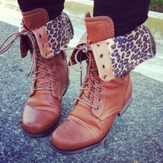 OMG these are my to die for shoes like combat boots and cheetah print mixed together