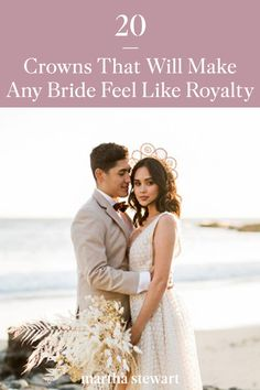 Whether you wish to tie your wedding day's vibe into your outfit or upgrade your hairstyle with some sparkle and shine, a statement-making tiara or crown is the way to go. We curated plenty of inspiration to help you decide which crown style is the best for your celebration. #weddingideas #wedding #marthstewartwedding #weddingplanning #weddingchecklist Wedding Looks, Bridal Looks, Crown Hairstyles, Wedding Hairstyles, Wind Blown Hair, Casual Bride, Sleek Updo, Red Photography, Celestial Wedding