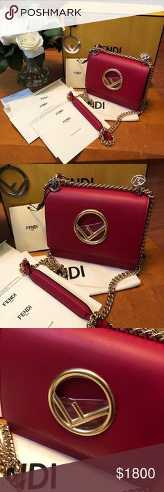 Fendi KAN I F Mini Bag Brand new and authentic comes with receipt dustbag and box.. new from the spring collection!  Mini-bag with flap and new Fendi logo. Magnetic closure. Gusseted interior with a pocket. Can be worn cross-body or carried in the hand thanks to the long sliding chain shoulder strap. Made of black leather. A mix of palladium-finish and gold-finish metalware.  Made in Italy Length:19cm Height:5.9 inches Depth:3.5 inches Fendi Bags Shoulder Bags