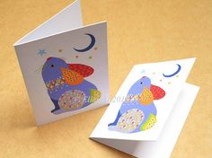Rabbit folded gift tags pack of 4 peel-off tags by Ellareki