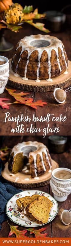 A wonderfully autumnal pumpkin bundt cake with chai tea glaze – rich, moist and  delicious.