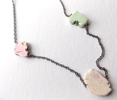 Long Pastel Necklace, Pyrite Magnesite Jewelry, Cotton Candy, Layering Statement, Pale Colors, Howlite