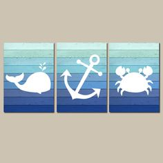 Nautical Wall Art CANVAS or Prints Whale Anchor Crab Blue Ombre Wood Effect Background Boy Nursery Bathroom Decor Ocean Set of 3