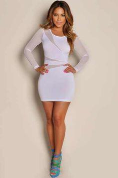 Achromic White Mesh Mini Dress