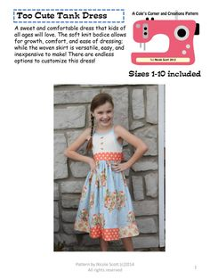 2ded449c848 Too Cute Tank Dress PDF Sewing Pattern Sizes 1-10 Girls