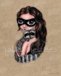 Mixed Media  Big Eyed Art  Hug  8x10 Print  raccoon  by treetalker