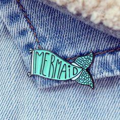House Of Wonderland Mermaid Tail Flag/Banner Enamel Pin Brooch Mermaid Tails, Pin Badges, Little Gifts, Brooch Pin, Banner, Flag, Butterfly, Enamel, Creative