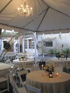 Tented wedding with round tables