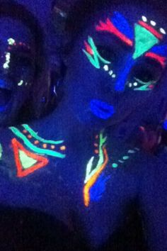 UV party glow in the dark makeup blue uv lipstick iv body pain and face paint costume ideas for a girl , so easy by me