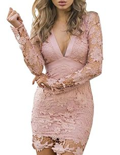 VintageRose Womens Lace Crochet Backless V Neck Bodycon Dress Pink S Size:S,M,L,XL(inch)  bust(inch): S:32;M:33;L:35;XL:37;  length(inch): S:33;M:33;L:33;XL:34;  hips(inch): S:32;M:33;L:35;XL:37;  waist(inch): S:24;M:26;L:27;XL:29;  Sleeve: S:22;M:23;L:23;XL:24;  pattern:Solid  neckline:V Neck  material:Polyester+Lace  style:Sexy  sleeve Length:Long Sleeve   P.S ALL THE SIZE ARE FOLLOWED BY ASIAN STANDARD  Package Include:1*Woman Dress  Note:There might be 2-3% difference according..