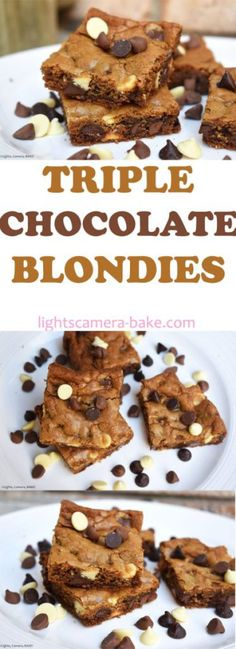 Triple Chocolate Chip Blondies - Lights, Camera, BAKE! | A Dessert And Baking Blog Fit For Hollywood