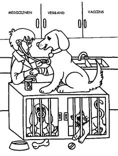 Veterinarian Coloring Pages Encouraging Kids to be Kind to the Animal - Coloring Pages Community Helpers Kindergarten, D Is For Dog, Pet Vet, Vet Clinics, Veterinary Medicine, Animal Coloring Pages, Preschool Art, Animal Party, Coloring Pages For Kids
